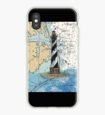 Cape Hatteras Lighthouse NC Nautical Chart Cathy Peek iPhone Case