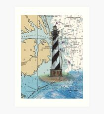 Cape Hatteras Lighthouse NC Nautical Chart Cathy Peek Art Print