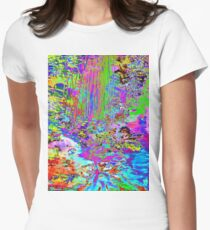 Psychedelic Forest Stream Womens Fitted T-Shirt