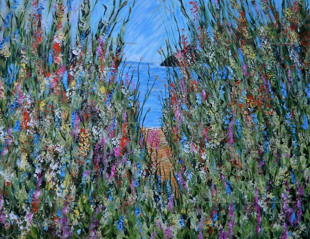 Beach Flowers 2, landscape painting by artbykatsy
