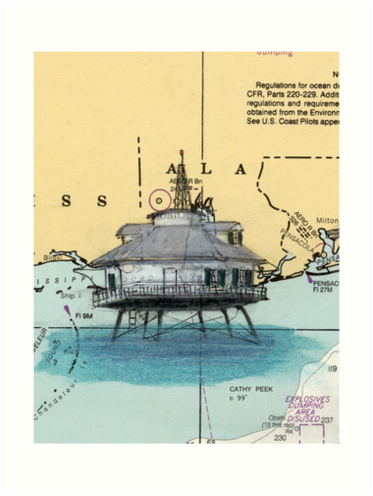 Mobile Bay Lighthouse AL Chart Map Cathy Peek by Cathy Peek