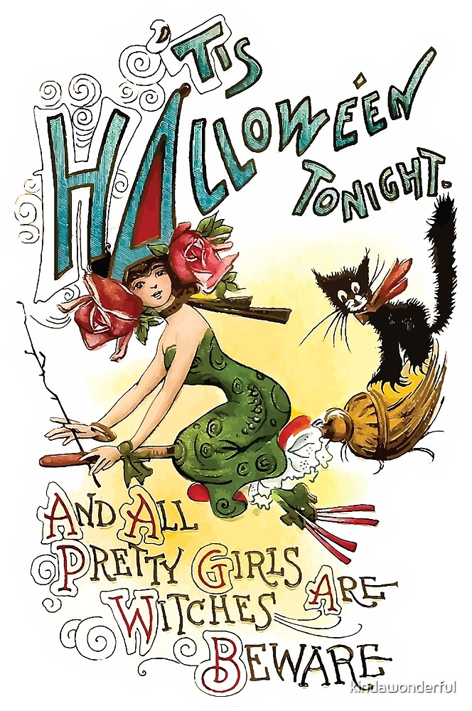 Vintage Halloween Pretty Witch on Broom by kindawonderful
