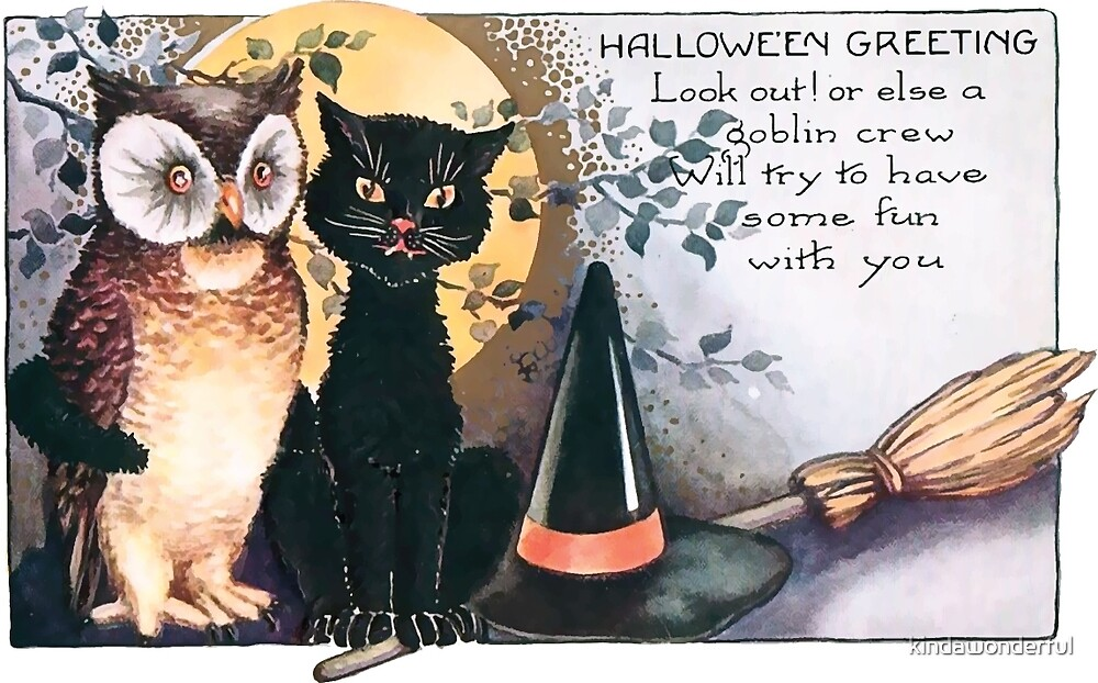 Vintage Halloween Black Cat and Owl with Broom by kindawonderful