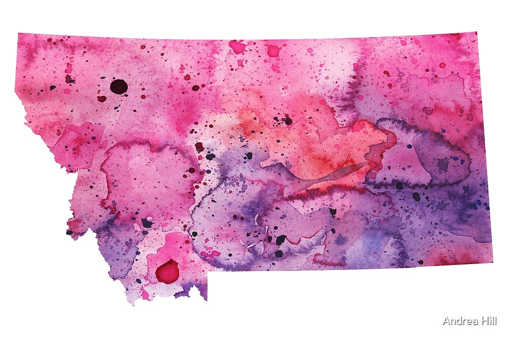 Watercolor Map of Montana, USA in Pink and Purple  by Andrea Hill
