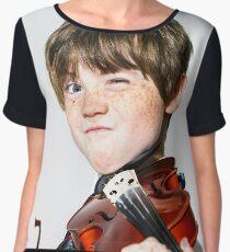 Freckled red-hair boy playing violin Chiffon Top