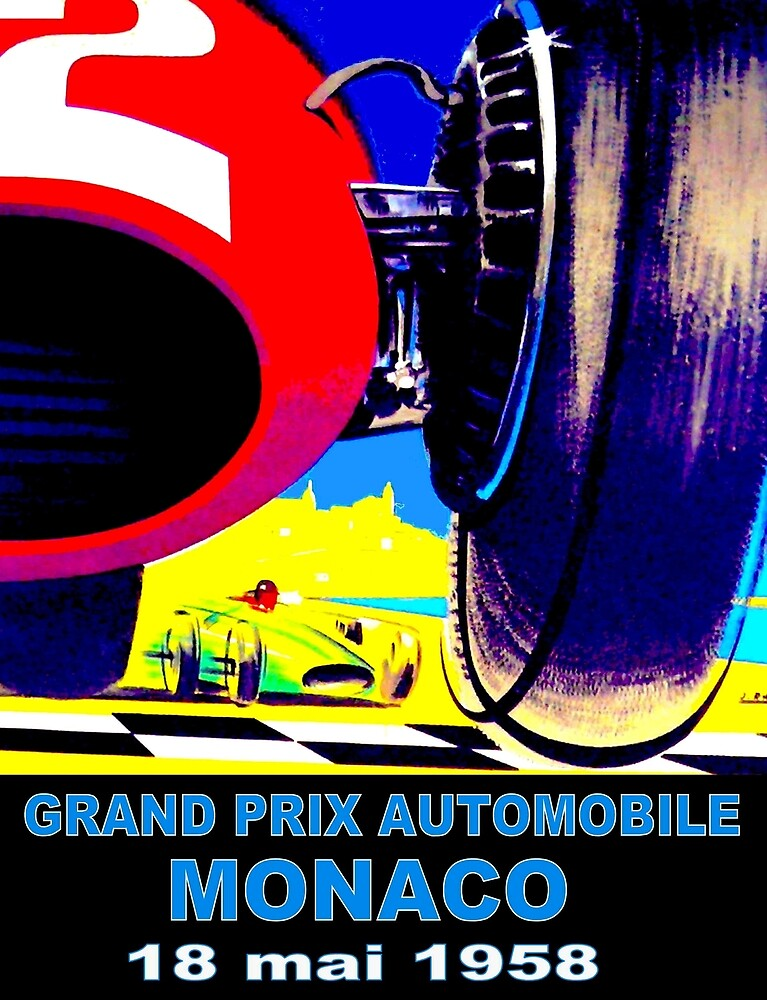 MONACO GRAND PRIX;quot; Vintage Auto Racing Print by posterbobs