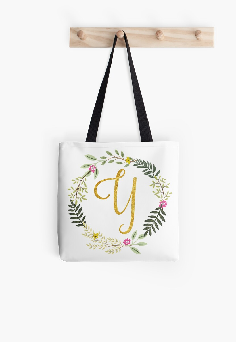 Floral and Gold Initial Monogram Y by Heureux Lifestyle