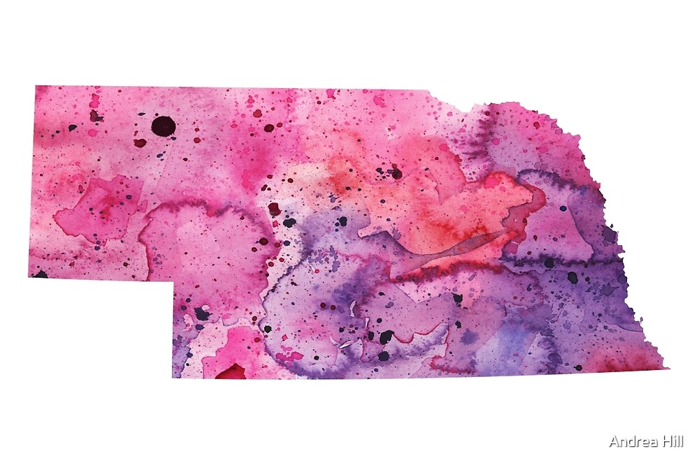 Watercolor Map of Nebraska, USA in Pink and Purple  by Andrea Hill