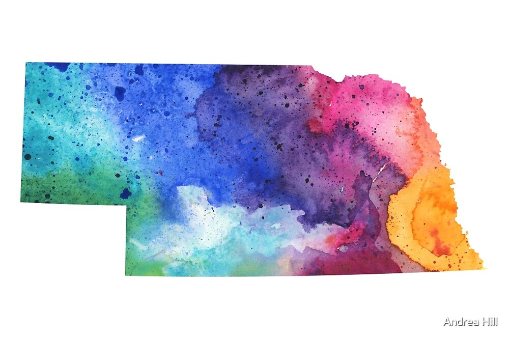 Watercolor Map of Nebraska, USA in Rainbow Colors  by Andrea Hill