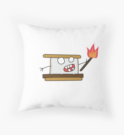 angry zombie s'more Throw Pillow