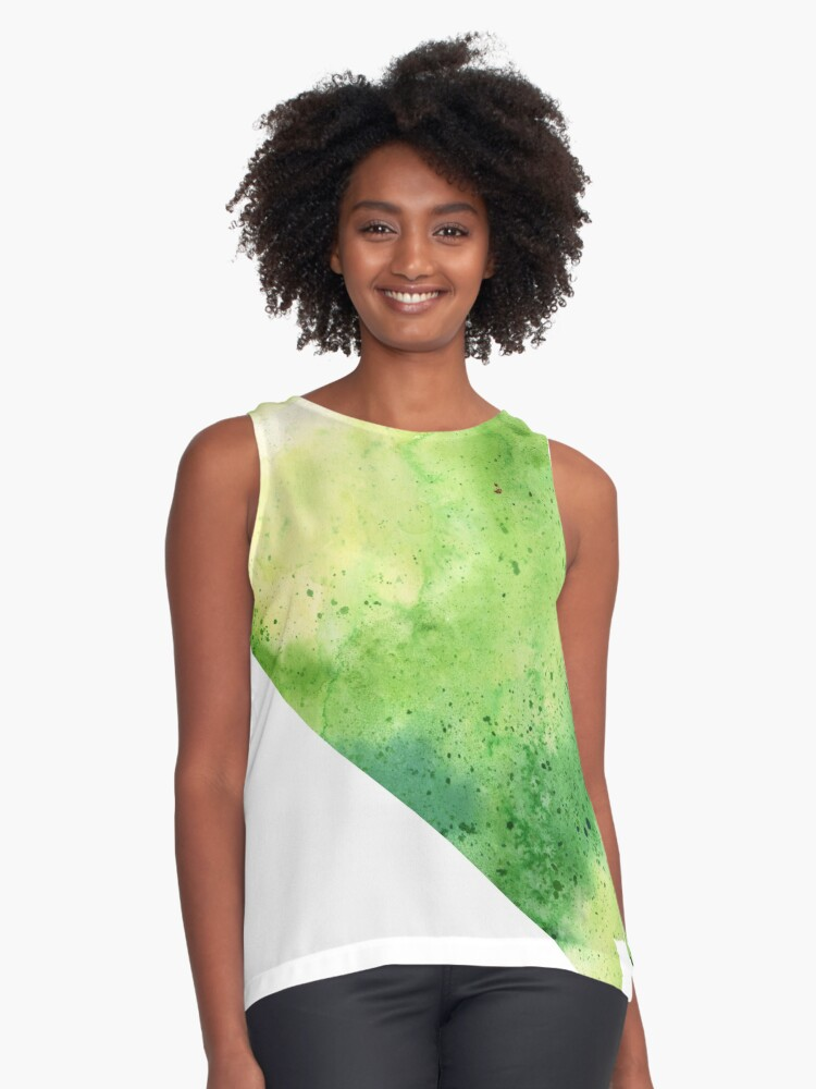 Watercolor Map of Nevada, USA in Green  Contrast Tank Front
