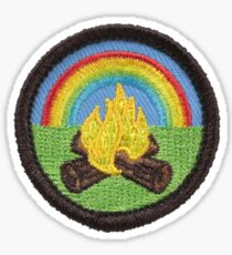 Rainbow campfire patch sticker Sticker