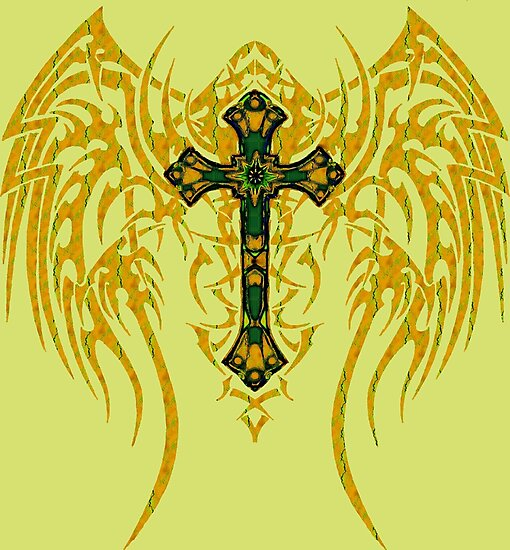 TRIBAL WING CROSS GREEN GOLD by SK8N