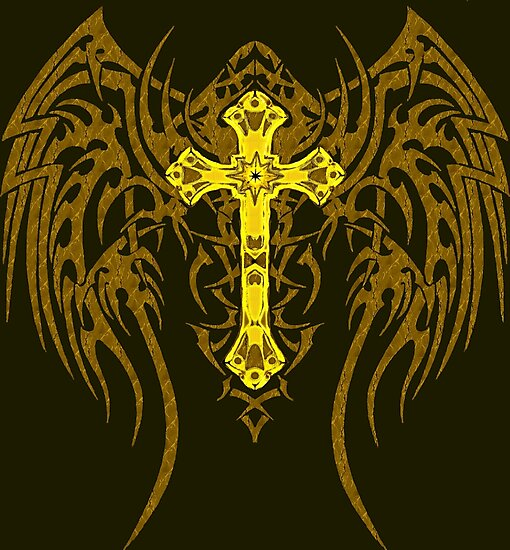 TRIBAL WING CROSS GOLD by SK8N
