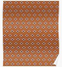 Simple seamless knitting pattern. Autumn orange background.  Poster