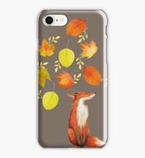 Fall Fox On Grey iPhone Case/Skin