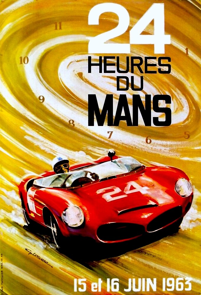 DU MANS GRAND PRIX; Vintage Auto Racing Print by posterbobs