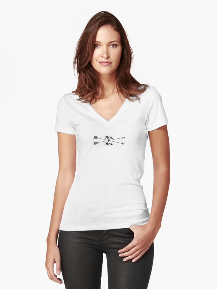 Mrs. Mrs. (black design) Women's Fitted V-Neck T-Shirt Front