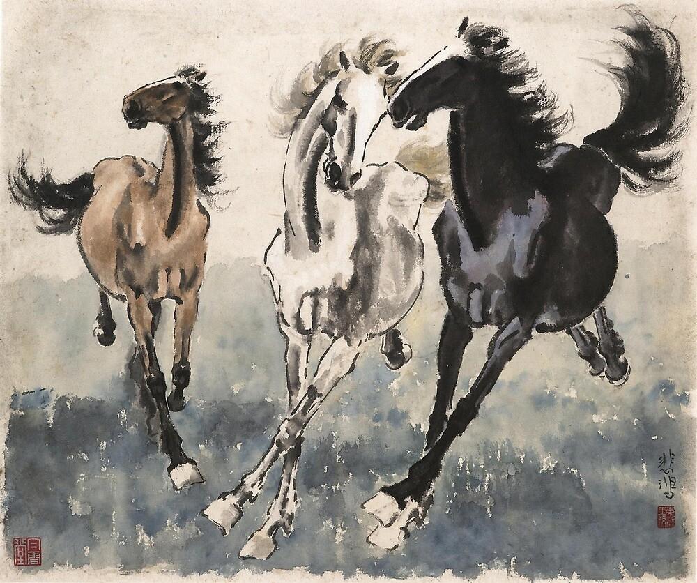 Japanese Ukiyo-e Horses by spacialcowboy