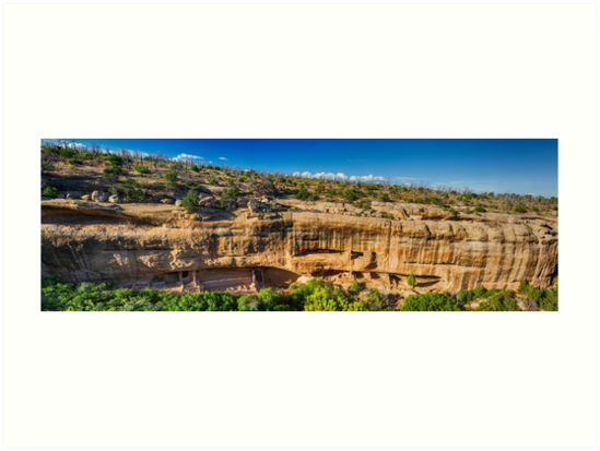 Cliff Dwelling Indian Ruins Panorama by Bo Insogna