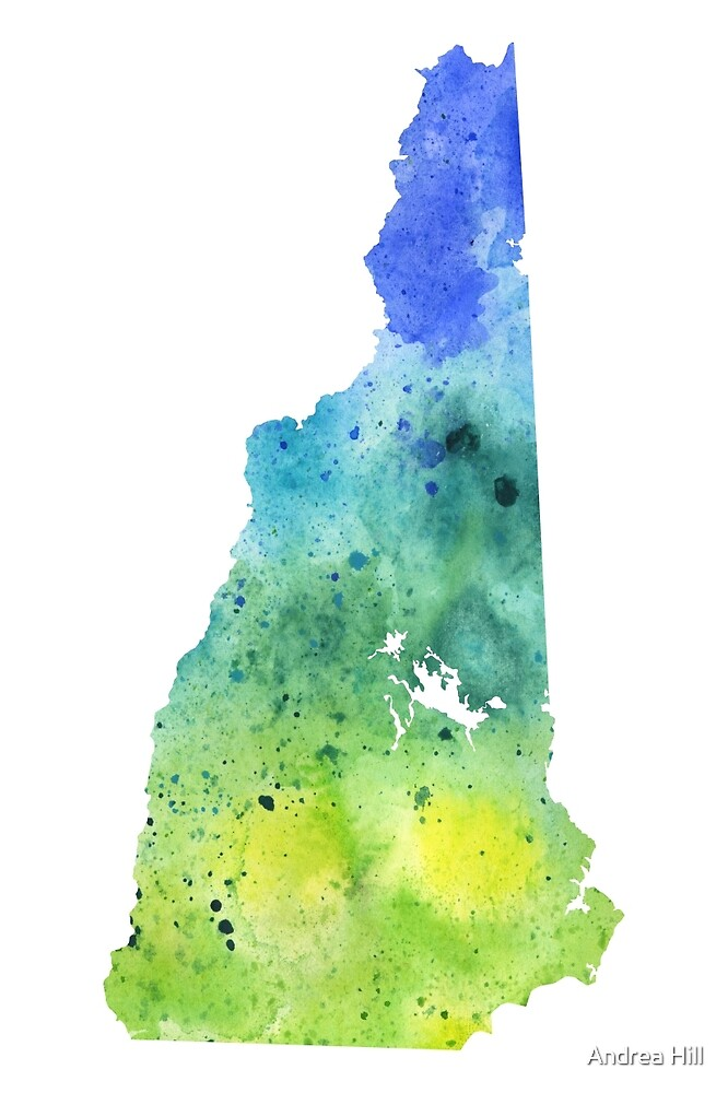 Watercolor Map of New Hampshire, USA in Blue and Green by Andrea Hill