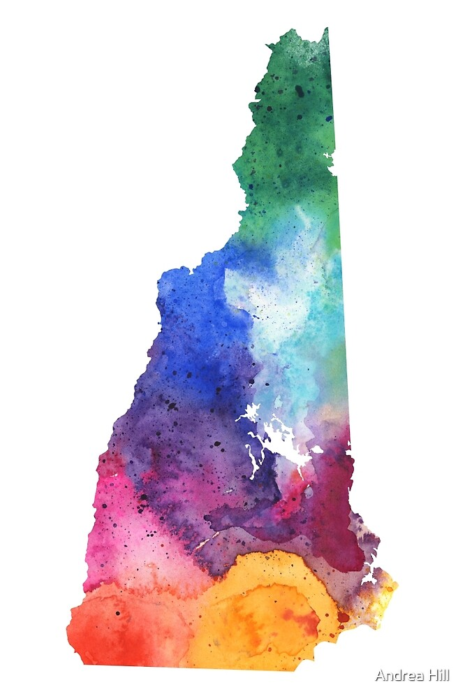 Watercolor Map of New Hampshire, USA in Rainbow Colors  by Andrea Hill