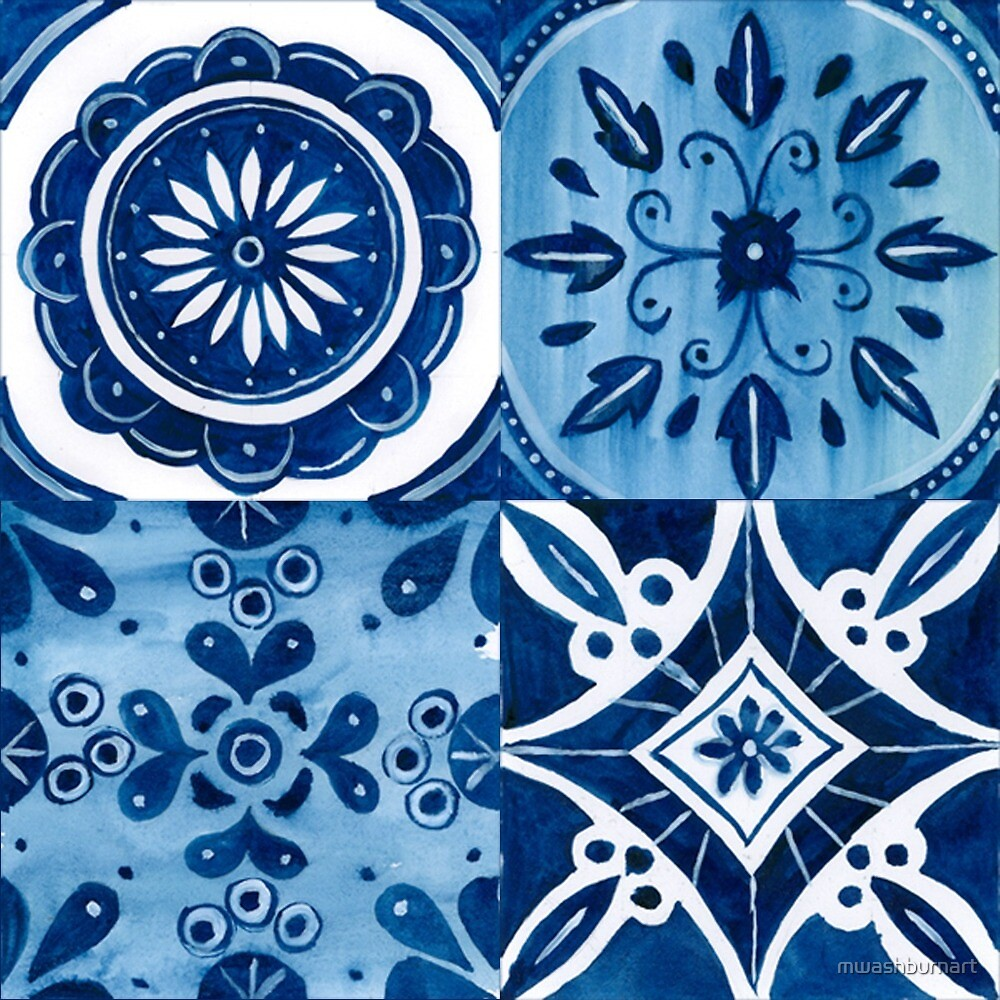 Blue and White Talavera Tile Inspired Pattern by mwashburnart