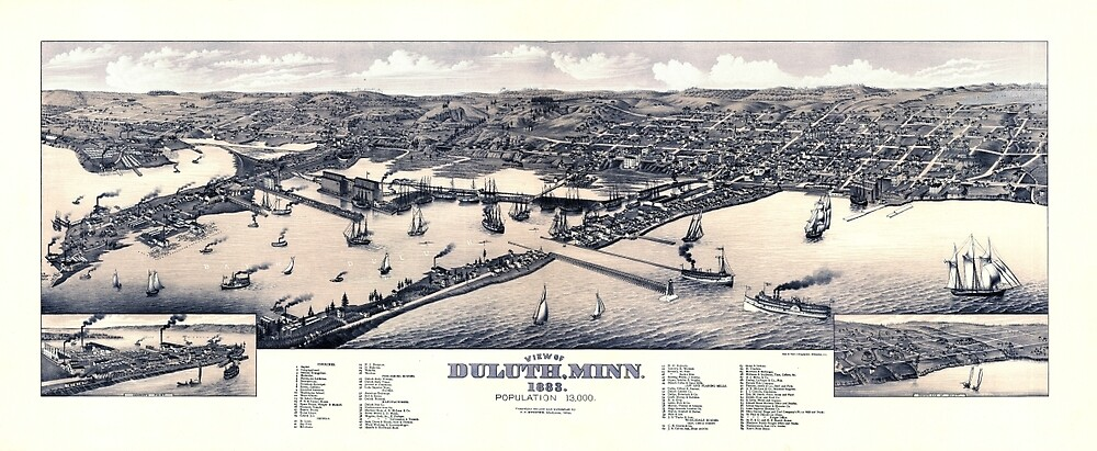 Map Of Duluth 1883 Blue by mollyfare