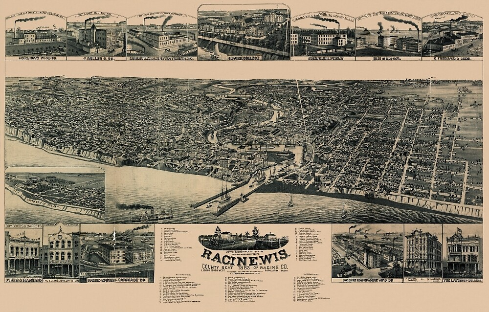 Map Of Racine 1883 by mollyfare