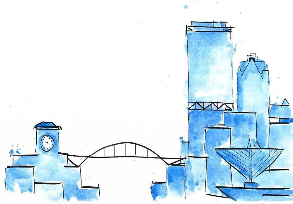 Blue Watercolor Milwaukee Skyline by carolynlewisx