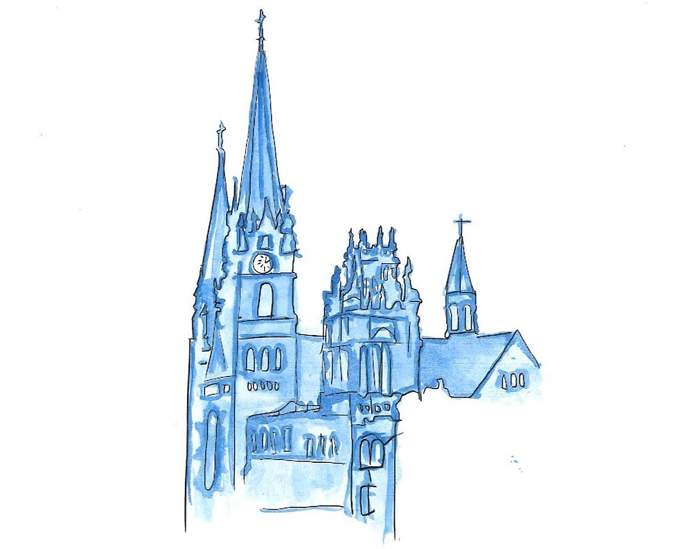 Gesu and Marquette Hall Watercolor by carolynlewisx