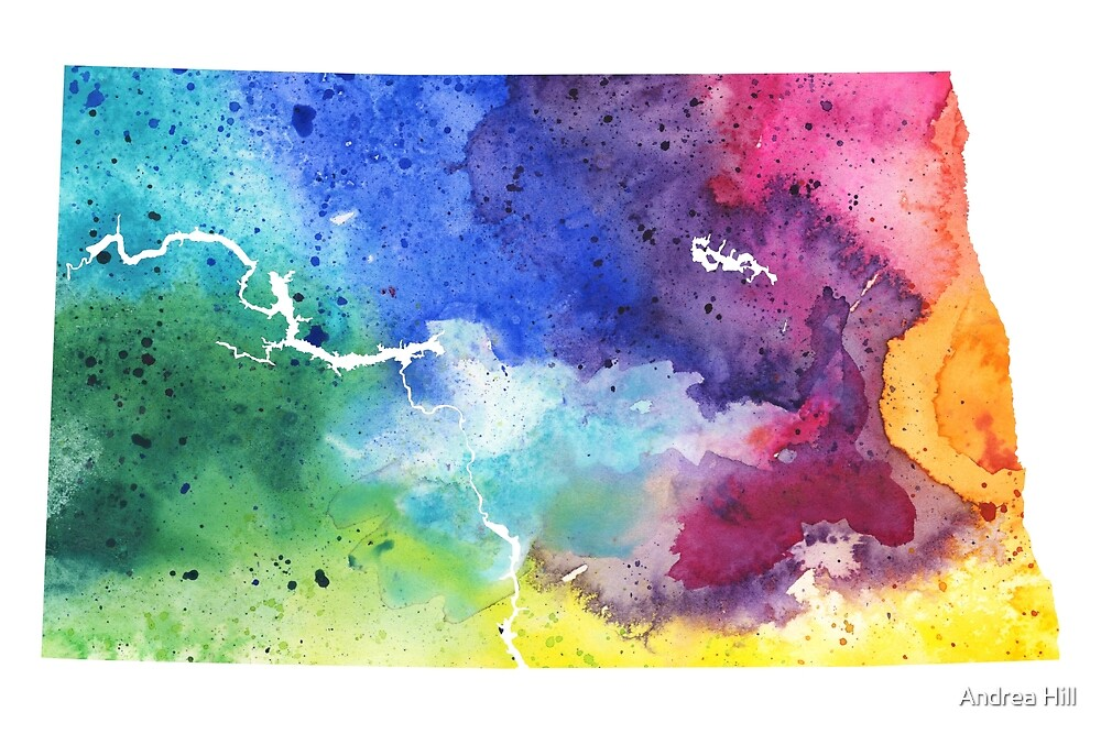 Watercolor Map of North Dakota, USA in Rainbow Colors  by Andrea Hill