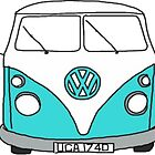 Retro Blue VW Van by rileyr21