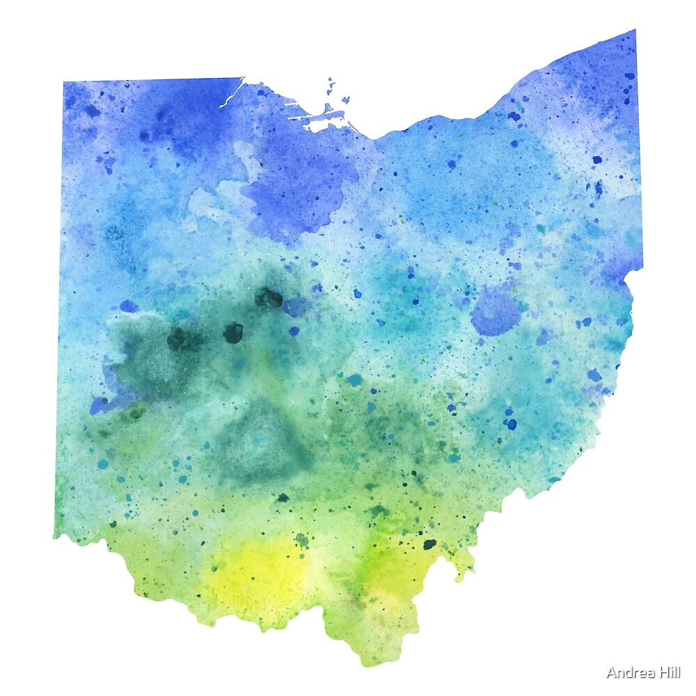 Watercolor Map of Ohio, USA in Blue and Green by Andrea Hill