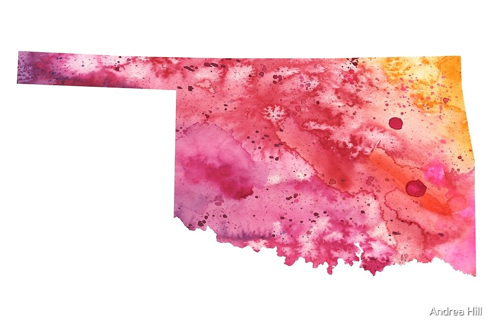 Watercolor Map of Oklahoma, USA in Orange, Red and Purple by Andrea Hill