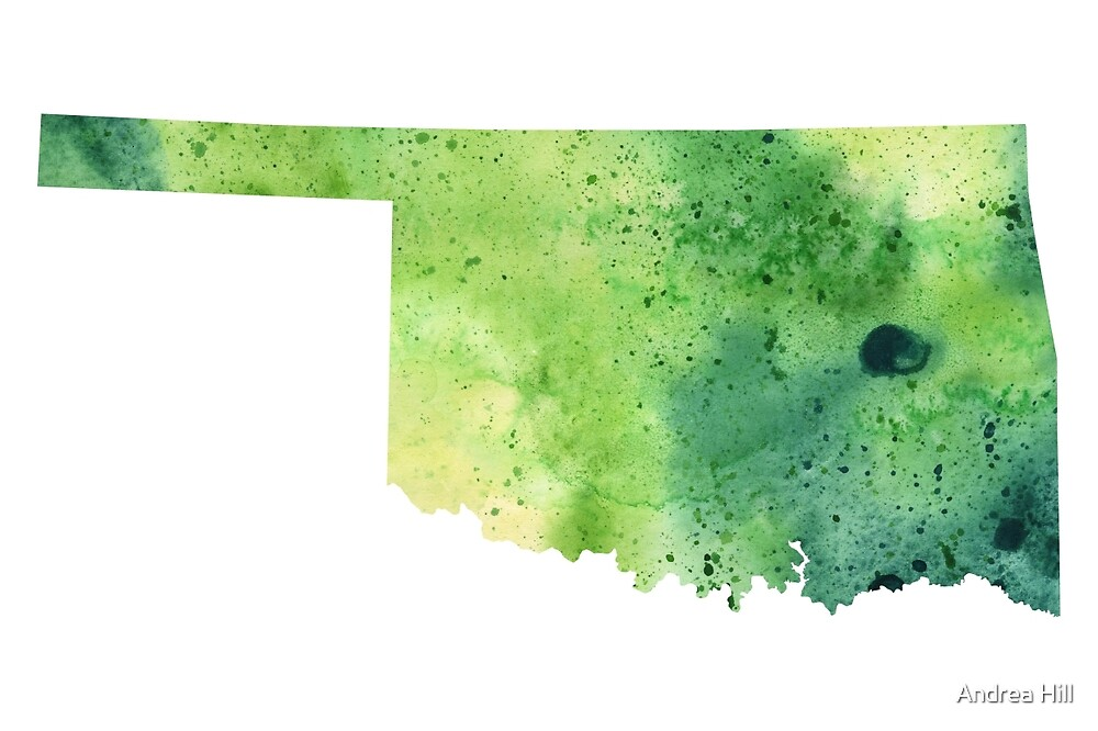 Watercolor Map of Oklahoma, USA in Green  by Andrea Hill