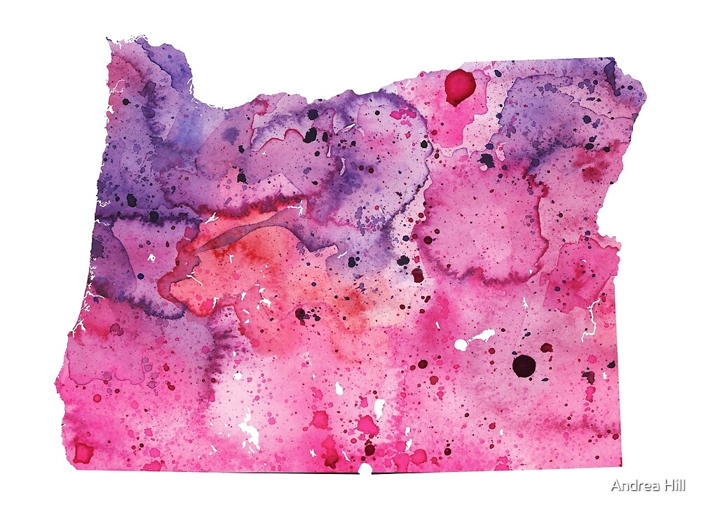 Watercolor Map of Oregon, USA in Pink and Purple  by Andrea Hill