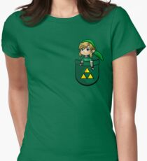 Pocket Link Hero of Time Zelda with Triforce Womens Fitted T-Shirt