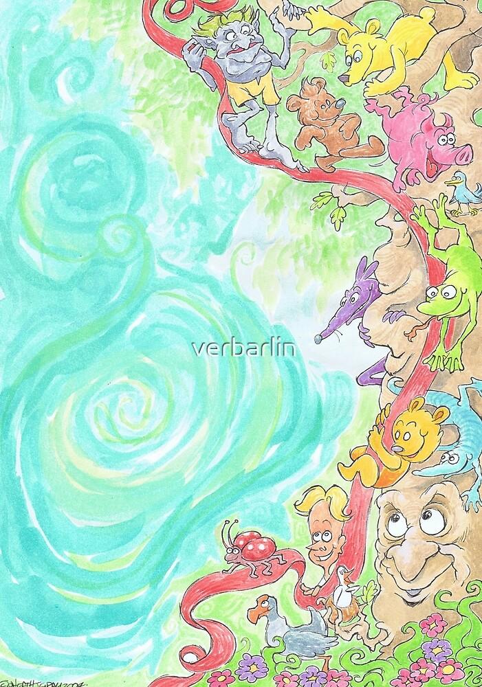 Cartoon illustration of a fantasy scene. by verbarlin