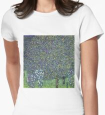 Gustav Klimt - Roses Under The Trees  Womens Fitted T-Shirt
