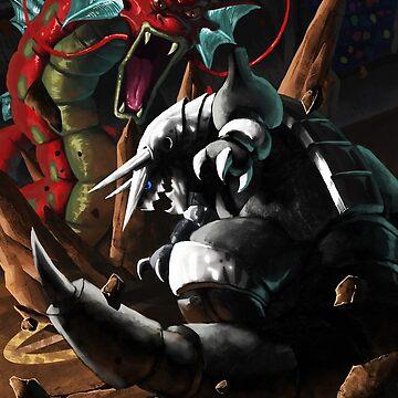 Pokemon! Aggron vs Gyarados by Gigan91