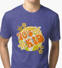 70s Kid - Retro Happy Flowers 1970s Hippies Design Tri-blend T-Shirt