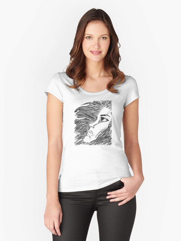 Teenage scared Women's Fitted Scoop T-Shirt Front