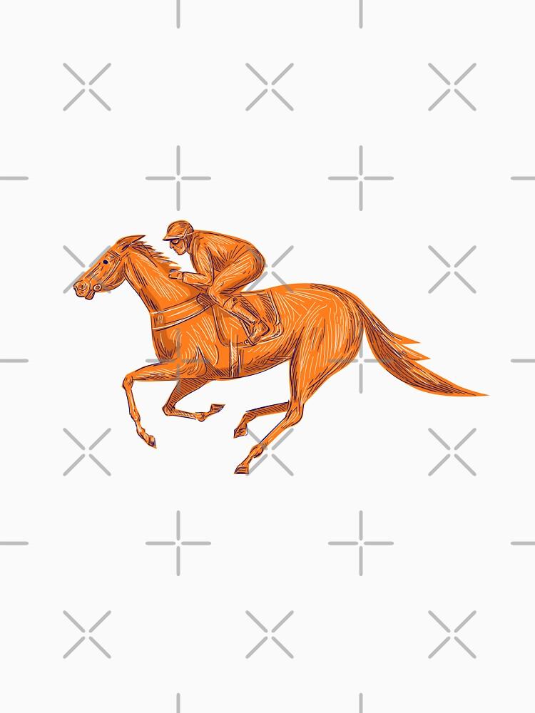 Jockey Horse Racing Drawing by patrimonio