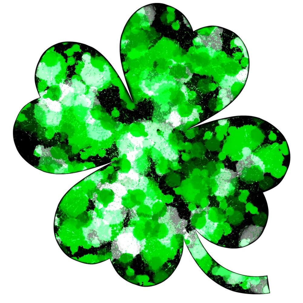 Green Splatter Four-Leaf Clover by Chevoque
