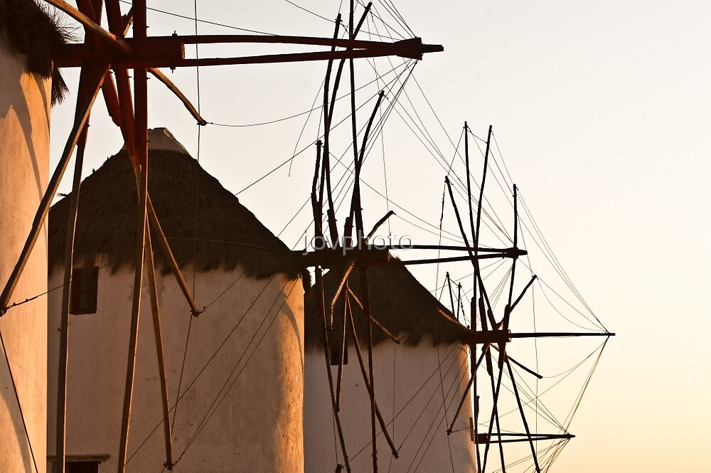 Windmills at Dusk in Mykonos by jovphoto