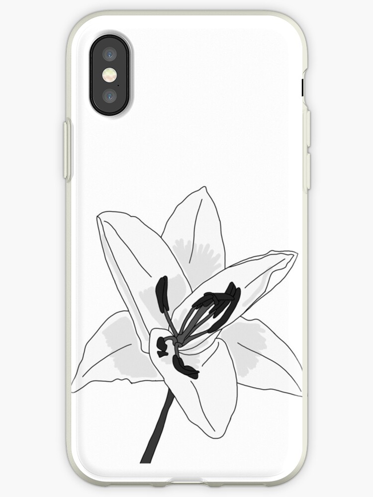 Black and white lily illustration by Kathrynsarah