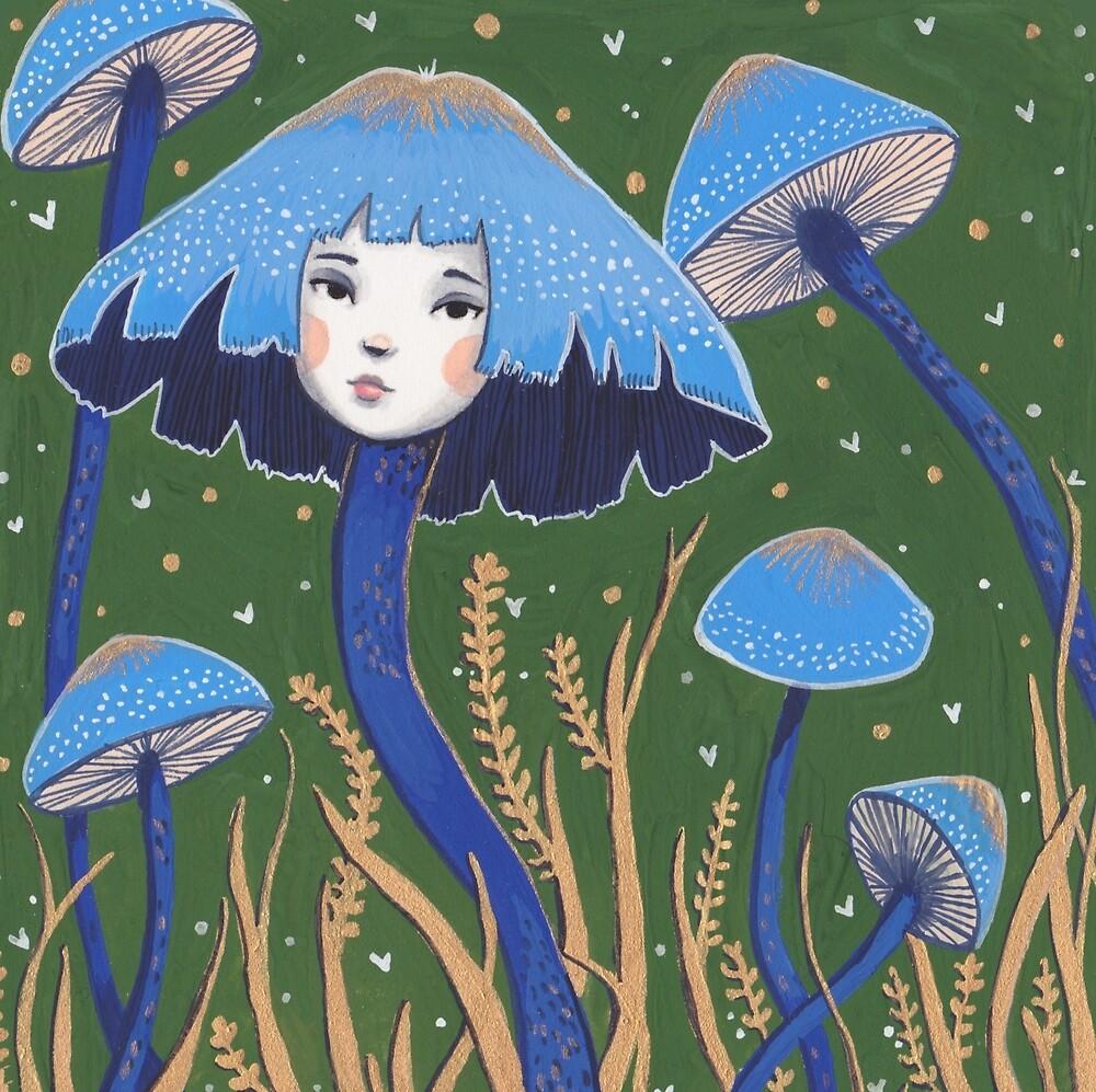 Uncommon Variety - Blue Mushroom by Emma Hampton