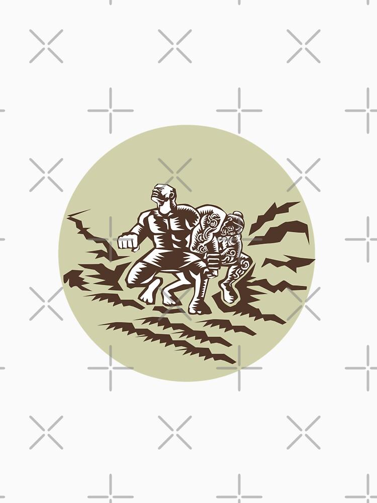 Tiitii Wrestling God of Earthquake Circle Woodcut by patrimonio