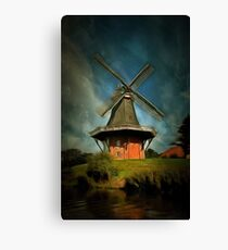 The Windmill at Greetsiel, Leybucht in East Frisia, Germany Canvas Print